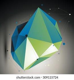 Green digital 3d abstraction, lattice geometric polygonal misshapen template. Emerald three-dimensional wireframe unusual illustration.