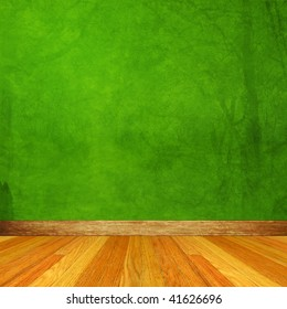 Green Dimensional Room with Wood Floor