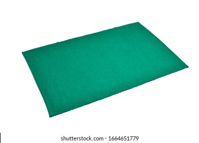 green dinning cloth isolated on white background, kitchen cloth, placemats