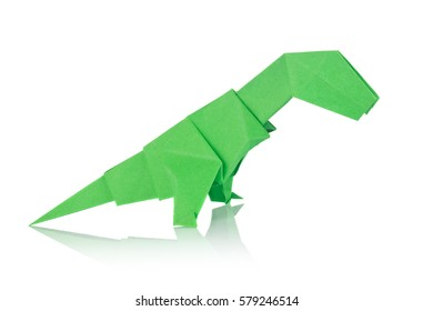 Green dinosaur Rex of origami, isolated on white background