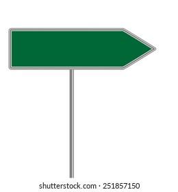 green direction sign.  illustrator