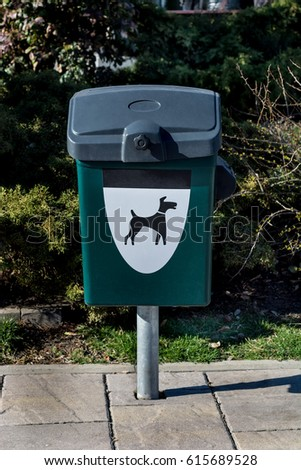dog poop container outdoor diy green dog waste container sign dog waste container trash stock photo edit now