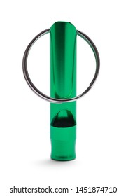 Green Dog Whistle with Ring Isolated on White.