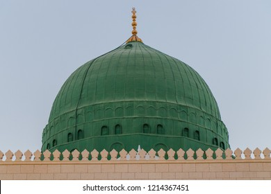 Green Dome of Masjid Nabawi or Prophet's Mosque. Holy Mosque in Medina - Saudi Arabia