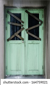 green door of haunted house