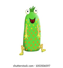 Green with dots and spots, cute and colorful monster cartoon character.  Original Digital illustration.