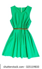 Green dress with belt on a white background