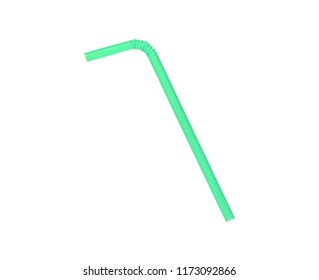 Green drinking straw isolated on white background with clipping path, top view