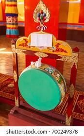 Green drum for make merit Inside Guru Rinpoche Temple at Namchi. Sikkim, India.