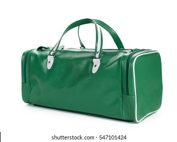 Green duffel gym bag isolated on white background