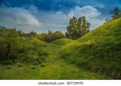 Green dunes, grass, trees and blue sky. Fairytale look in countryside.