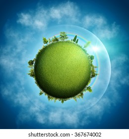 Green Earth. Abstract eco backgrounds over blue skies and clouds
