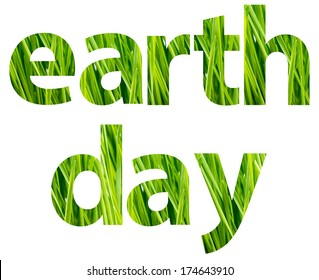 Green Earth Day Words Concept