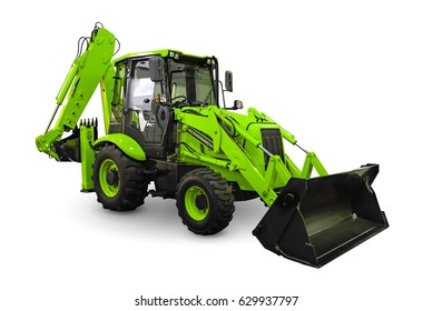 Green earth mover isolated on a white background