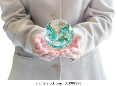 Green earth on business man for CSR concept, world environment day, saving planet, go green, environmental protection in return of investment: Elements of this image furnished by NASA