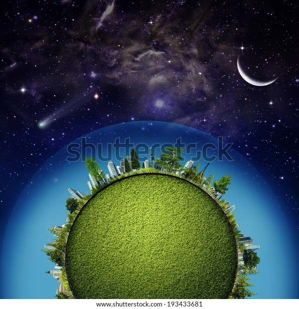 Green Earth planet against starry skies, sustainable development concept