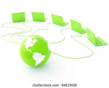 green earth is strung wires and in surroundings computers