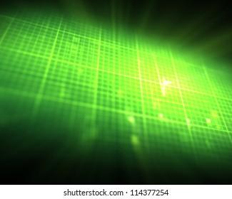 Green ECG heartbeat on grid