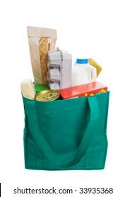 Saco de mercearia verde ecológico cheio de comida
