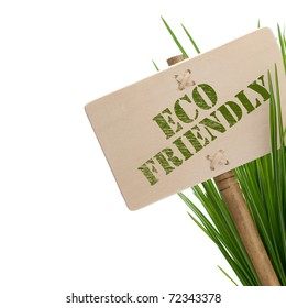 green eco friendly message on a wooden panel and green plant - image is isolated on a white background