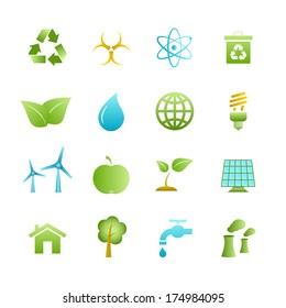 Green eco icons set of apple leaf tree and water isolated  illustration