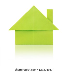 Green eco paper house on a white background