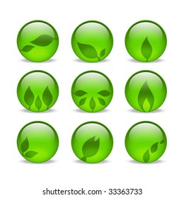Green eco style glass leaf web icons