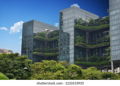 Green ecological modern building, futuristic architecture concept, Singapore, Asia, October 12, 2018
