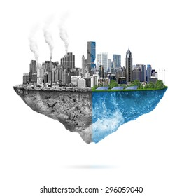 Green ecology city against pollution - sustainable development concept.