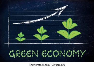 green economy and sustainability, a stock exchange or performane graph with leaves growth
