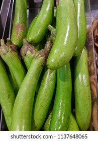 Green eggplant Stack. In the department of fresh at the supermarket.Scientific name Solanum melongena L.Is a herbaceous plant.Vegetables used to make food.Eggplant Contains vitamins and minerals.
