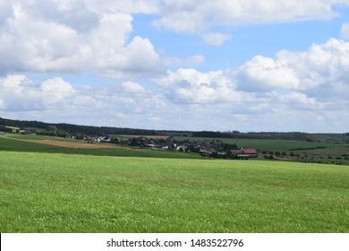 green Eifel with villages in summer