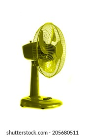 green electric fan on white background.