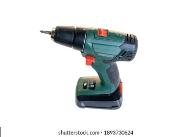 Green Electric  screwdriver isolated  on white background