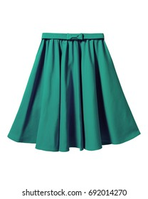 Green elegant skirt with ribbon bow isolated on white