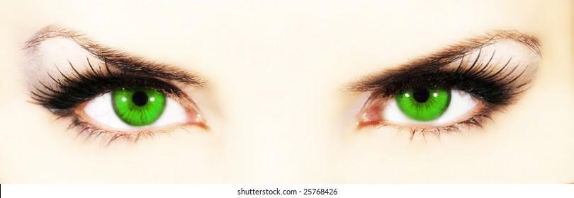 Green  emerald eyes  close-up