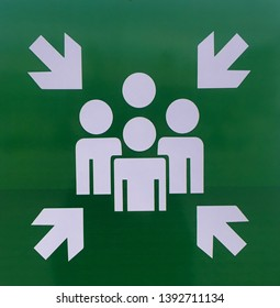 Green Emergency assembly point sign, gathering point signboard