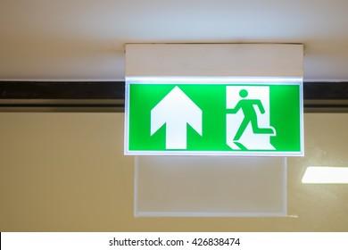 Green emergency exit badge