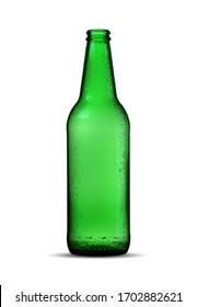 green empty beer bottle on white background