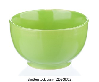 Green empty bowl isolated on white background