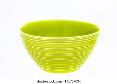 Green empty bowl, isolated on white background