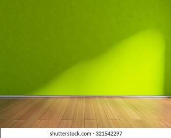 green empty interior. 3D rendering
