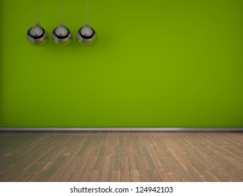 green empty interior with lamps