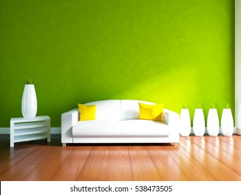 green empty interior with a white sofa and vases. scandinavian interior. 3d illustration