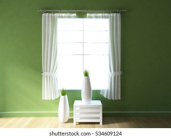 green empty interior with a white table, curtains and vases. scandinavian interior. 3d illustration