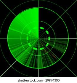 Green empty radar screen on a black background