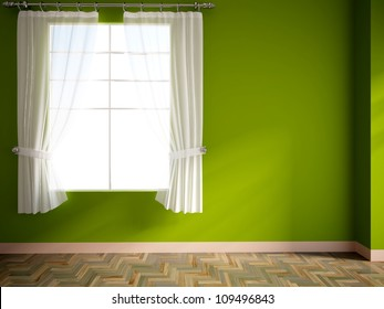 green empty room with window and curtains