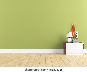 Green empty scandinavian room interior. Nordic interior. 3d illustration