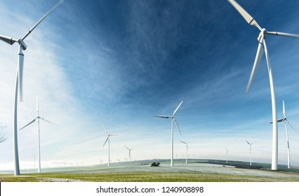 Green energy background Beautiful landscape with windmill forest and field