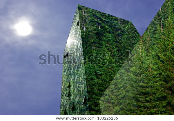 Green energy in the city: modern building covered with spruce forest